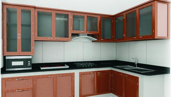 Tủ bếp bằng nhôm màu