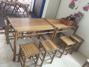 Mẫu bàn ghế tre dùng cho quán ăn